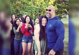 the rock u0027 meets with students while filming his new movie on campus