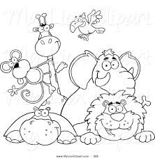 free black and white zoo clipart 24