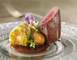 chartreuse cuisine venison fillet with juniper spiced wine with chestnuts vegetable