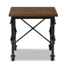 Metal And Wood Sofa Table by Baxton Studio Julian Rustic Industrial Style Antique Black