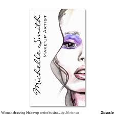 woman drawing make up artist business card design hair and