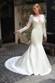 lace wedding gowns scalloped v neck sleeve lace wedding dress kleinfeld bridal