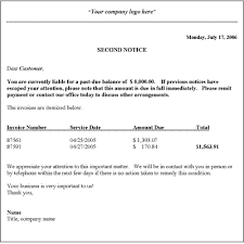 collection letter template second notice