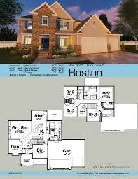 traditional 2 story house plans 29325 boston brick detailing and a trio of stately gables crown the