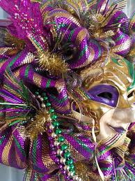 large mardi gras mask mardi gras purple green and gold deco mesh crazyboutdeco