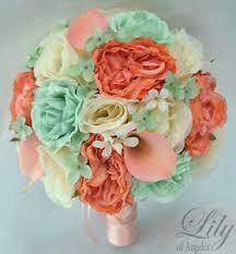 mint green flowers 17 package silk flower wedding bridal bouquet mint green