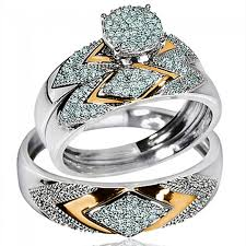 wedding sets his and hers his wedding rings set trio men women 10k white yellow gold two