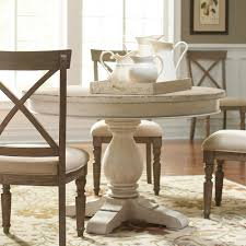 aberdeen wood round dining table only in weathered worn white
