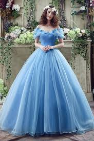 blue wedding dresses tulle floor length the shoulder gown flower sleeve