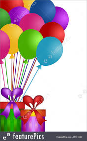balloons gift balloons with gift wrapped presents illustration