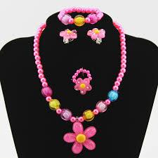 earrings necklace bracelet images 4pcs kids baby girl 39 s imitation pearls beaded sun flower necklace jpg