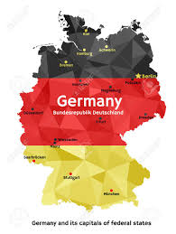 The National Map Vector Geometric Polygonal Map Of Federal Republic Of Germany