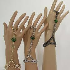 women marijuana money bracelet hand chain slave ring black silver