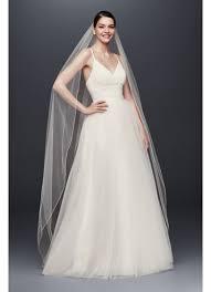 chapel wedding dresses chapel length veil with pencil edge david s bridal