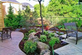 Patio Around Tree Charming Backyard Landscaping Decorated A Small Tree Rocks And