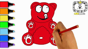 how to draw jelly bear valera learning coloring pages for kids