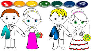 how to draw bride and groom wedding coloring pages for kids 2