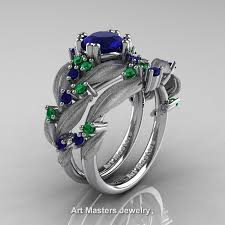 sapphire emerald rings images Nature classic 14k white gold 1 0 ct blue sapphire emerald leaf jpg