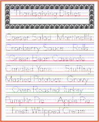 thanksgiving dishes handwriting practice november ideas