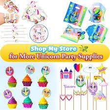 amazon com rainbow unicorn party favor keychain pack goody bag