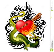 dragon and heart tattoo design stock vector image 40879549