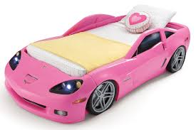 step2 convertible toddler to twin pink corvette bed with lights