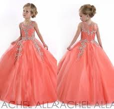 2017 coral little girls pageant dresses princess tulle sheer jewel