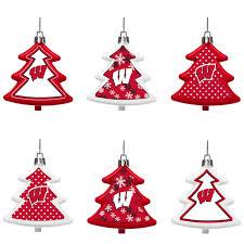 badgers six pack shatterproof tree ornament set