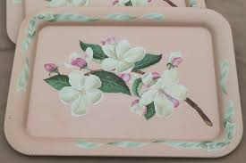 vintage metal trays w pink apple blossoms floral shabby chic
