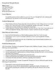 Occupational Therapy Resume New Grad Occupational Health Therapist Cover Letter