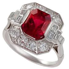 1930 u0027s art deco red spinel diamond and platinum ring for sale at