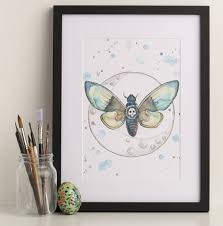 deaths moth print by and fauna