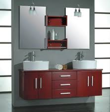 bathroom red wall cabinets idea also contemporary round vessel