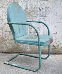retro metal lawn chair teal rustic vintage porch furniture metal