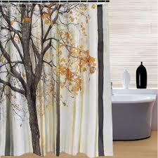 Waterproof Fabric Shower Curtains 180x180cm Maple Leaf Trees Pattern Waterproof Fabric Shower
