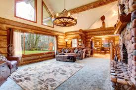 log home interior pictures bright living room interior in american log cabin house rustic