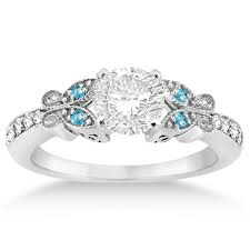 topaz engagement ring butterfly diamond blue topaz engagement ring 14k white gold 0 20ct