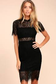 chic black dress lace dress lbd sheath dress
