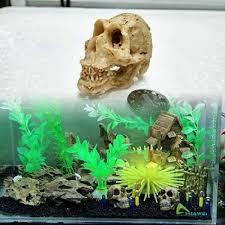 artifical resin skull crawler dragon lizard terrarium reptile cave