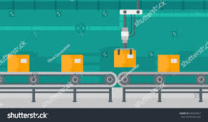robotic packaging conveyor belt automated robotic stock vector
