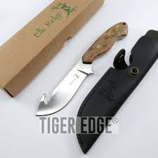 fixed blade knife elk ridge hunting burl wood survival gut hook