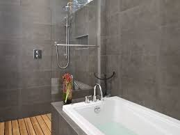bathroom bathroom tile cedar wood shower floor charcoal tub