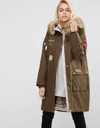 asos badged parka with satin lining lyst