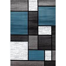Modern Blue Rug Blue Grey Polypropylene Contemporary Modern Boxes Area Rug 9 X
