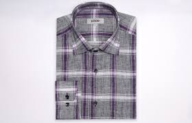 grey and purple checkered linen shirt waisted fit dress shirts