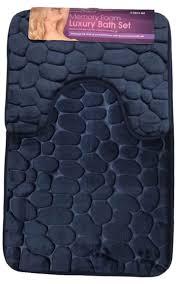 Memory Foam Toilet Rug Bath Mat Set Non Slip Rubber Pedestal Mat Toilet Rug Memory Foam