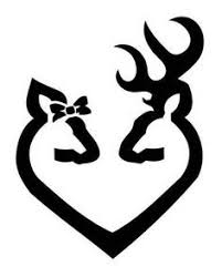 buck and doe heart browning decal heart doe buck deer sticker car truck wall laptop