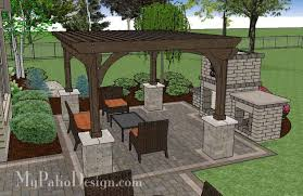 Large Brick Patio Design With 12 X 16 Cedar Pergola Outdoor by Simple Patio Design With Pergola Fireplace And Grill Station