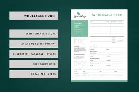 wholesale order form template stationery templates creative market
