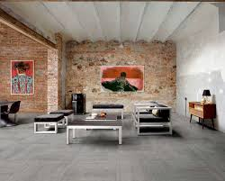 Grey Color Living Room Living Room Floor Tile Design Ideas With Grey Color And Brick Wall